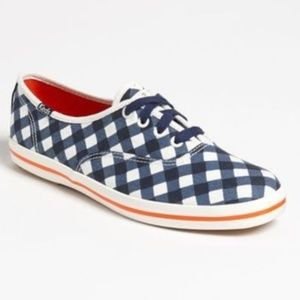 Kate Spade New York Gingham Lace Up Canvas Sneaker
